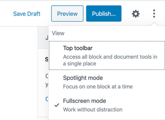 Wordpress 5.4 - Fullscreen Mode