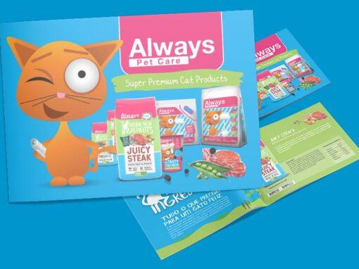 Brochura e Folheto promocionais para Always Pet Care