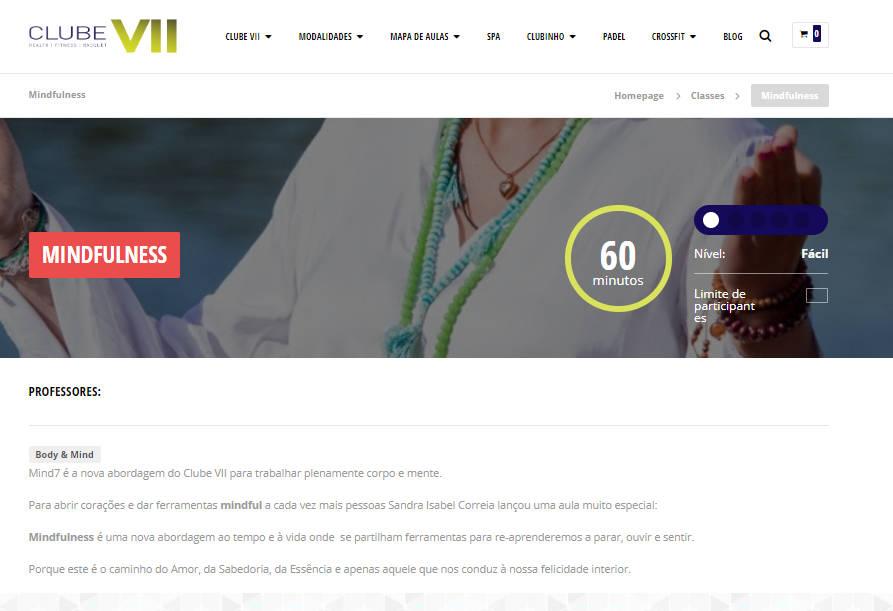 Website Clube VII - Página modalidades