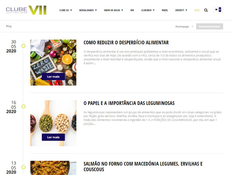 Website Clube VII - Blog