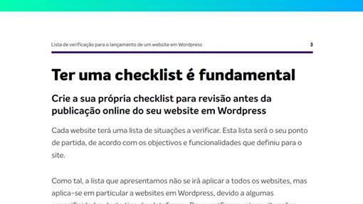 ebook: Checklist Wordpress - página de exemplo