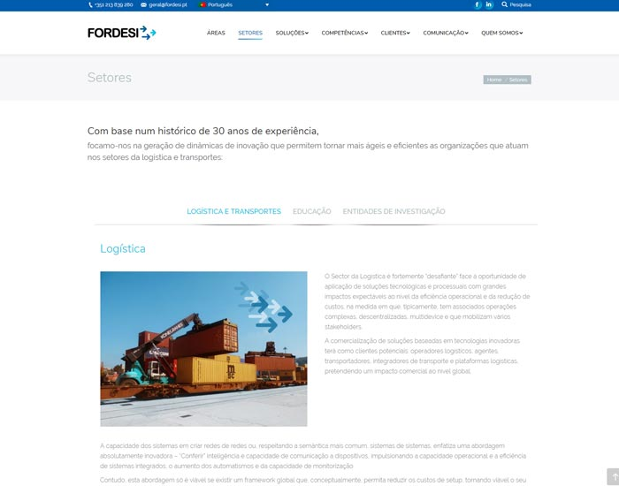 Website Wordpress Fordesi, Sectores