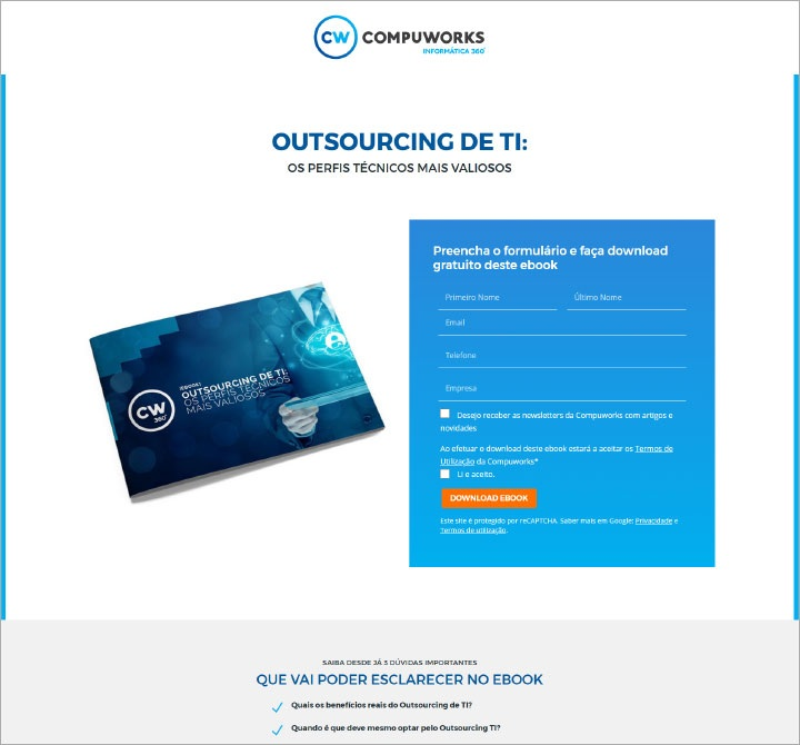 Landing page: ebook Outsourcing TI