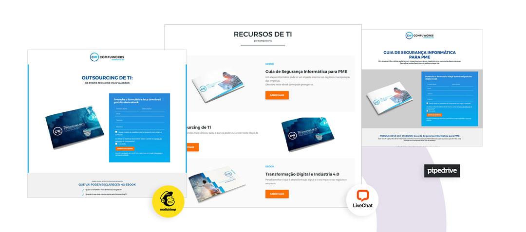 Landing page: Integração com Mailchimp, Pipedrive e Live Chat