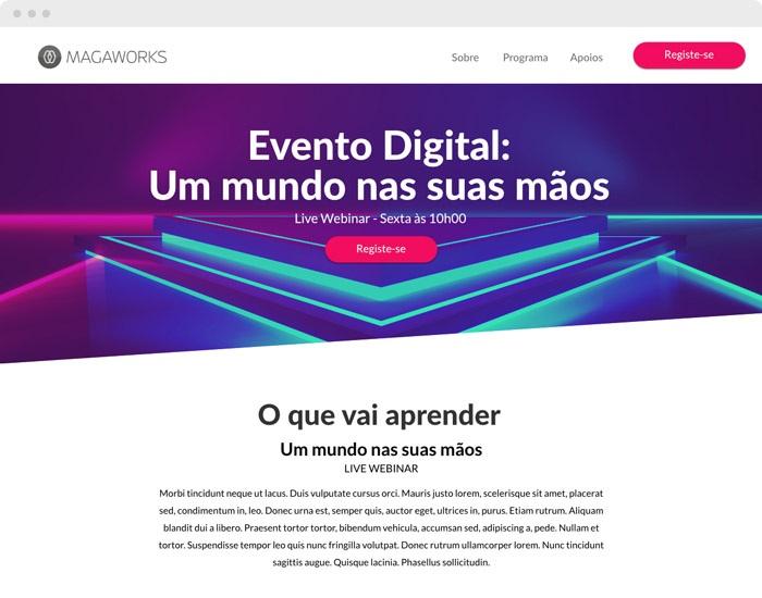 Landing page para eventos digitais
