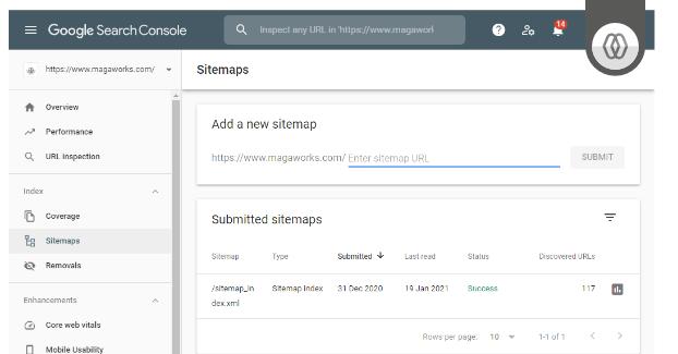 Google Search Console - adicionar sitemap